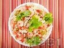 Рецепта Салата от паста фузили със скариди, целина и чушки